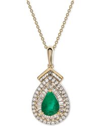 "Macy's - Certified Ruby (3/4 Ct. T.w.) & Diamond (1/3 Ct. T.w.) 18"" Pendant Necklace In 14k Gold (also Available In Sapphire Or Emerald) - Lyst"