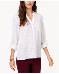 Style & Co. - Cotton Roll-tab Textured Top - Lyst