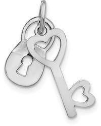 Macy's Lock And Key Charm In 10k White Gold - Metallic
