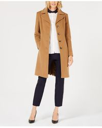 Anne Klein Single-breasted Walker Coat, Created For Macy's - Natural