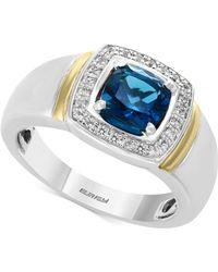 Effy Collection - Men's London Blue Topaz (1-5/8) & Diamond (1/6 Ct. T.w.) Ring In Sterling Silver And 14k Gold - Lyst