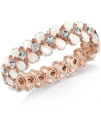 Charter Club - Rose Gold-tone Crystal & Imitation Pearl Stretch Bracelet, Created For Macy's - Lyst