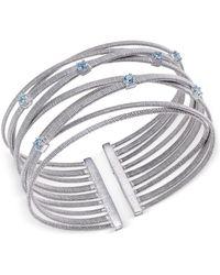 Macy's - Swiss Blue Topaz Multi-row Cuff Bracelet (3/4 Ct. T.w.) In Sterling Silver - Lyst