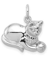 Macy's Cat Charm 14k White Gold