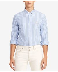 a0314f739 Lyst - Polo Ralph Lauren Classic-fit Plaid Oxford Shirt in Blue for Men