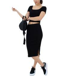 PUMA Classics Ribbed Midi Skirt - Black