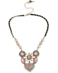 Betsey Johnson Gold-tone Crystal Gem Cluster Frontal Necklace - Metallic