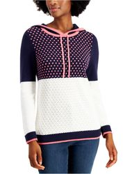 Charter Club Petite Colorblocked Sweater Hoodie, Created For Macy's - Blue