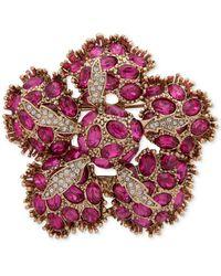 Anne Klein Gold-tone Crystal Flower Pin - Pink