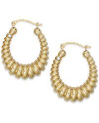 Signature Gold Diamond Accent Shrimp Hoop Earrings In 14k Gold Over Resin - Metallic