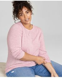 Charter Club Plus Size Cashmere Wool Blend Crewneck Sweater, Created For Macy's - Pink