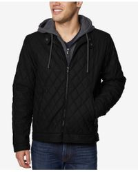 Buffalo David Bitton - Quilted Full-zip Moto Jacket With Removable Hood - Lyst
