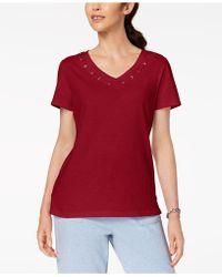 Karen Scott - Cotton Grommet-detail Top, Created For Macy's - Lyst