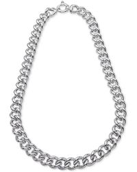 "Giani Bernini Heavy Curb Link 18"" Chain Necklace In Sterling Silver, Created For Macy's - Metallic"
