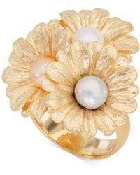 Giani Bernini - Cultured Pearl (6mm) Daisy Ring In 18k Gold-plated Sterling Silver, Created For Macy's - Lyst