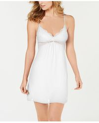 INC International Concepts Inc Lace-bodice Chiffon Chemise Nightgown , Created For Macy's - White