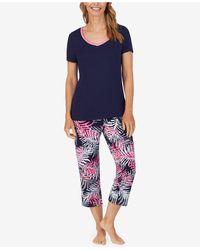 Nautica Solid T-shirt & Printed Capri Pants Pajama Set - Blue
