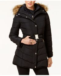 Tommy Hilfiger Faux-fur-trim Layered Hooded Belted Puffer Coat - Black