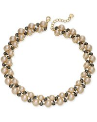Charter Club - Gold-tone Crystal & Imitation Pearl Collar Necklace - Lyst