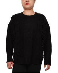 Derek Heart Trendy Plus Size Cable-knit Crewneck Sweater - Black