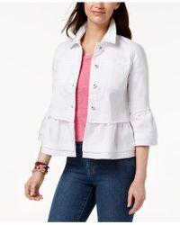 Style & Co. Ruffled Denim Jacket, Created For Macy's - White