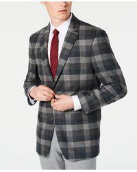Tommy Hilfiger Modern-fit Thflex Stretch Green/gray Plaid Sport Coat