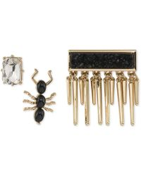 ABS By Allen Schwartz - Gold-tone 3-pc. Set Crystal, Ant And Druzy Pins - Lyst