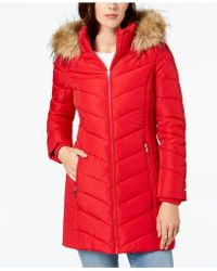 34d7d8d957a89 Lyst - Tommy Hilfiger Long Chevron Quilted Down Alternative Coat ...