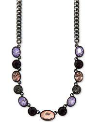 DKNY - Hematite-tone Multi-stone Collar Necklace - Lyst
