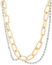 """Steve Madden - Two-tone Link & Crystal Layered Collar Necklace, 15"""" + 2"""" Extender - Lyst"""