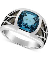 Macy's London Blue Topaz Ring (5-5/8 Ct. T.w.) In Sterling Silver & Black Rhodium-plate - Metallic