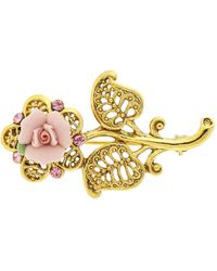 2028 - Gold-tone Pink Crystal And Porcelain Rose Brooch - Lyst