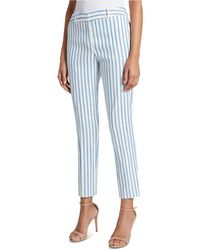 Tahari Striped Pleated Linen Ankle Pants - Blue