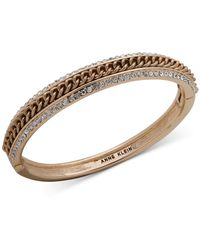 Anne Klein - Gold-tone Pavé & Chain Bangle Bracelet - Lyst