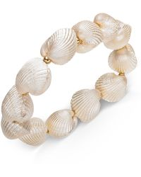 INC International Concepts Inc Gold-tone Imitation Shell Stretch Bracelet, Created For Macy's - White