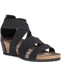 Muk Luks Elle Wedge Sandals - Black