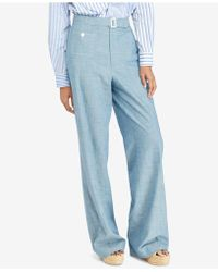 Polo Ralph Lauren - Buckled Chambray Wide-leg Pant - Lyst