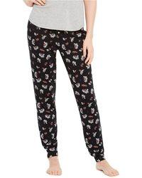 Carole Hochman Geo Fan Rayon Spandex Wide Leg Pant Pajama Set Size M BLACK Color