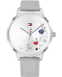 Tommy Hilfiger - Gray Leather Strap Watch 38mm, Created For Macy's - Lyst