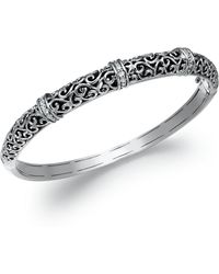 Macy's - Diamond Antique Bangle Bracelet In Sterling Silver (1/4 Ct. T.w.) - Lyst