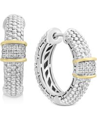 Effy Collection - Balissima By Effy® Diamond Cluster Beaded Hoop Earrings (1/8 Ct. T.w.)in Sterling Silver & 18k Gold - Lyst