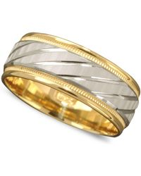 Macy's Men's 14k Gold And 14k White Gold Ring, Spiral Dome Band - Metallic