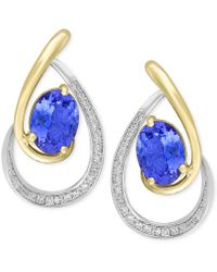 Effy Collection - Tanzanite (1-1/3 Ct. T.w.) & Diamond (1/6 Ct. T.w.) Drop Earrings In 14k Gold & White Gold - Lyst