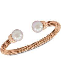 Majorica - Bracelet, Organic Man Made Pearl And Rose Gold-tone Stainless Steel Bangle Bracelet - Lyst