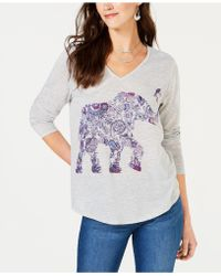 Style & Co. - Elephant-graphic V-neck T-shirt, Created For Macy's - Lyst