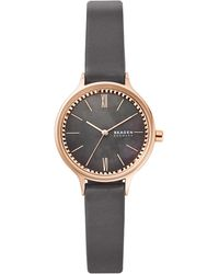 Skagen Anita Gray Leather Strap Watch 30mm