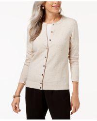 Karen Scott - Flecked Cardigan Sweater - Lyst