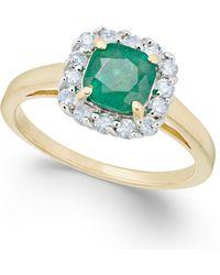Macy's - Emerald (1 Ct. T.w.) & Diamond (1/4 Ct. T.w.) Ring In 14k Gold - Lyst