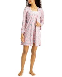 Charter Club Lace-trim Nightgown & Robe Set, Created For Macy's - Pink