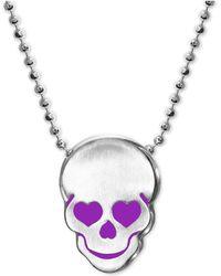 """Alex Woo - Enamel Heart Skull 16"""" Pendant Necklace In Sterling Silver - Lyst"""